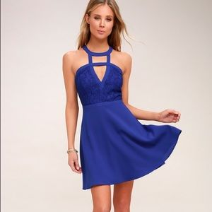 Lulu's All My Daydreams Cobalt Blue Lace Skater
